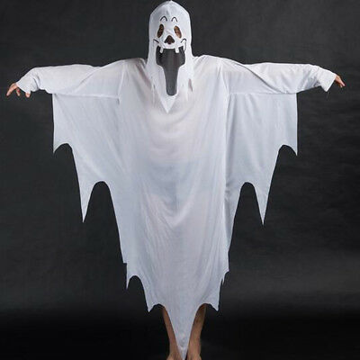 EP_ HK- Scary White Ghost Tattered Gown Set Mask Kids Girl Boy Halloween Costume
