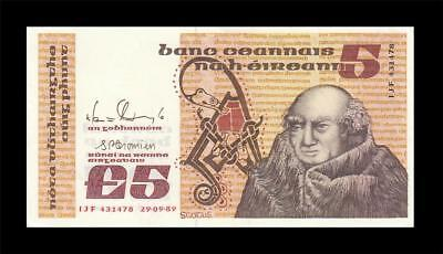 29.9.1989 Central Bank Of Ireland 5 Pounds (( Gem Unc ))