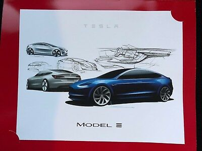 Tesla Model 3 Folio Art Collectible Sketch Print Thank You Note from Elon Musk