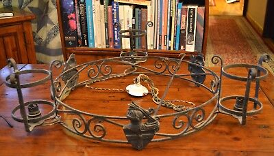 Medieval style hand wrought iron chandelier (possibly french)