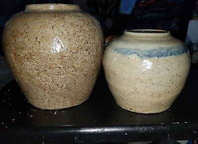 Chinese 19th century earthenware ginger / tea jars