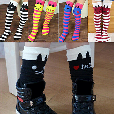 EP_ Girls Kids Cat Stripes Socks Soft Cotton Above Knee High Tights Stockings Cl