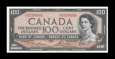1954 BANK OF CANADA QEII $100 **Consecutive 1 of 2** (( aUNC/UNC ))