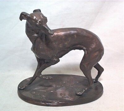 "Antique P.j. Mene 5.5"" Art Deco Bronze Whippet Dog Sculpture"