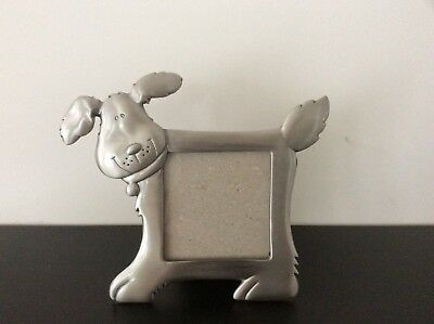 """Images Pewter Dog Pet Picture Frame Fits 2"""" x 2"""" Picture"""