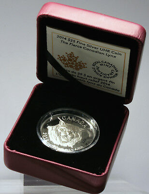 Kanada 25 $ Dollar 2014 - Fierce Canadian Lynx -, Silber, PP, Ultra High Relief