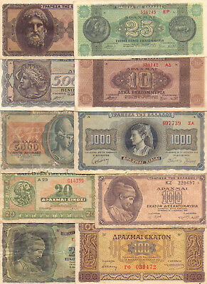 Greece  - 10 Different Greek Banknotes (Lot-19)