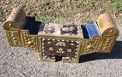 Antique Middle Eastern Shoe Shine Box Fine Inlay Brass And Wood
