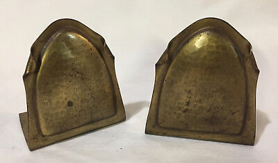 Pair of VIntage Roycroft Hammered Brass Bookends