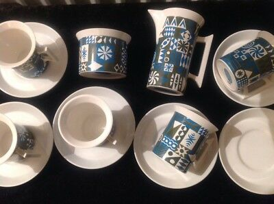 Portmeirion Tivoli Coffee Set 5 Cups 6 Saucers Milk & Sugar