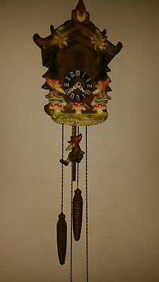 VINTAGE BLACKFOREST GERMAN CUCKOO CLOCK RARE GNOMES of THE FORREST THEME