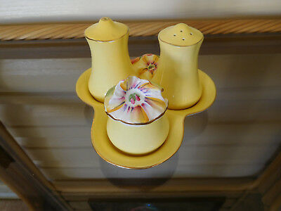 "Royal Winton Grimwades ""Yellow Petunia"" Condiment Set England 1940s"