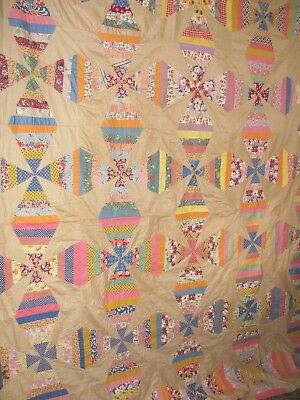 "WOW MINT STRING PC'D WEDGE QUILT TOP 73""x 84"" FEEDSACKS 1935-45 M-Pc FOUNDATION"