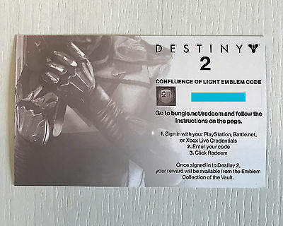 Destiny 2 - Confluence Of Light Emblem Code - Gamescom 2017 - XBOX PS4 PC - RAR