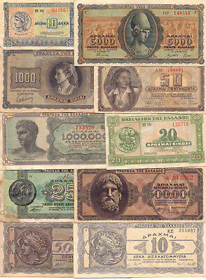 Greece  - 10 Different Greek Banknotes (Lot-4)
