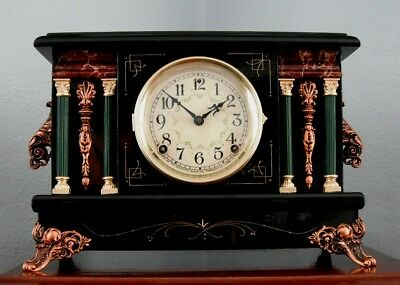Old Antique Sessions Black Mantel Shelf Clock Celtic 1920 Fully Restored