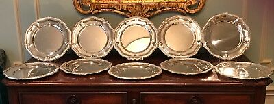 Set of 10 Vintage Georgian Style Silver Service Plates or Chargers c.1940