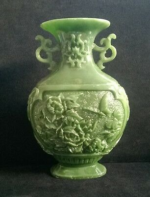 Vintage Green Resin ? Chinese Rare Unusual Engraved Vase