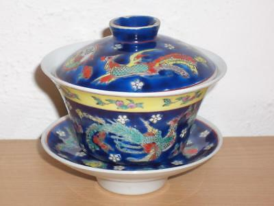 A Decorative Chinese Porcelain Cobalt Blue Ground Bowl/lid/stand, Late 20Th C.
