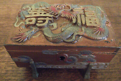 Antique oriental chinese Dragonl jewellery box , fine relief painted design