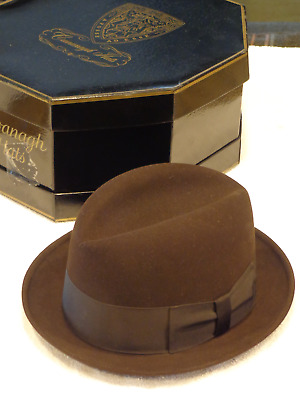 "Vintage Cavanagh 'Edge' Hat....Dark Brown Felt Fedora....7  3/8"".....with Box"