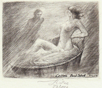 Bernd HIEKE Exlibris Schult Erotic Nude in Bath Copper Engraving C2 1993 signed