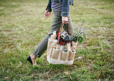 New Apolis Kinfolk Garden Bag Picnic Pocket Eco Farmers Market Leather Jute Tote