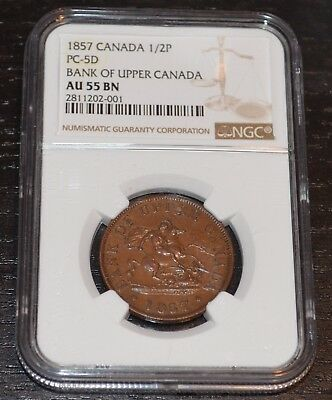 1857 Bank of Canada Token 1/2 Penny PC-5D Graded by NGC as AU 55 BN