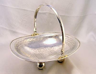 Solid Silver Rare Russian SWING HANDLE BASKET 1882 Moscow