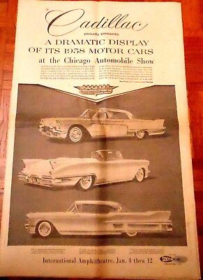 1958 CHICAGO AUTO SHOW  Newspaper Supplement Jan '58, GM,Ford,Chrysler, Others