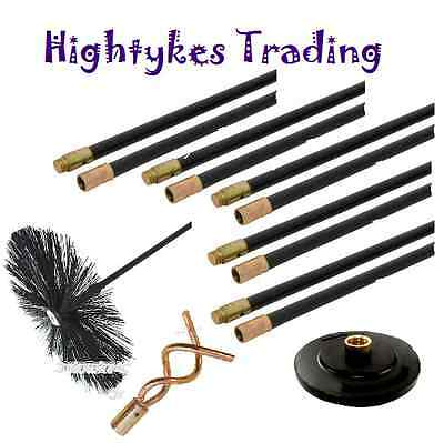 Drain Rod Set Chimney rods Flue Sweep Sweeping Brush Pluger Worm Screw 13pc