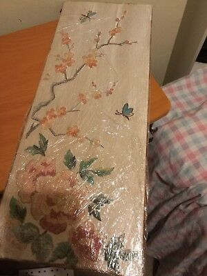 Vintage antique Chinese Silk Embroidery, embroidered panel butterfly,flowers