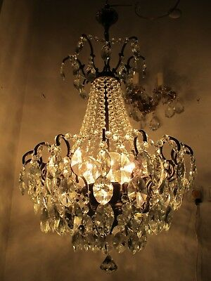 Antique Vnt French Big Spider Style Crystal Chandelier Lamp 1940s 19in Ø diametr