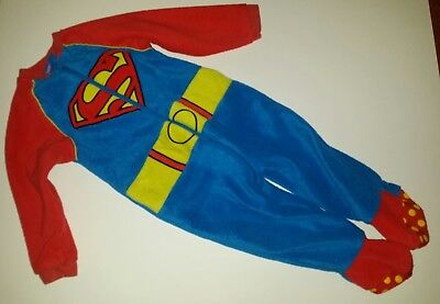 Fleece baby boy superman onsie sleepsuit age 12 - 18 mths DC justice league