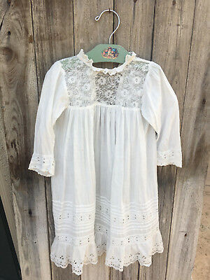 Antique 19Th C Victorian Flowered Lace & Eyelet Christening Infant Gown