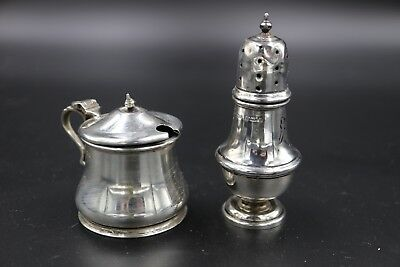 Antique Solid Sterling Silver  Cruet Mustard And Pepper Pot Condiment Set