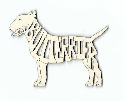 Bull Terrier Dog laser cut and engraved wood Magnet