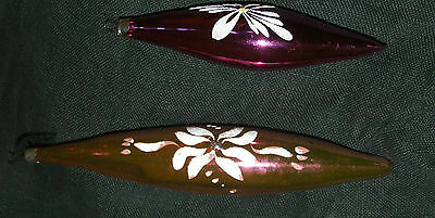 TWO Vintage Christmas tree ornaments Large purple & pink mouth blown GLASS 1970'