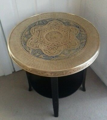 Vintage Oriental Brass Occasional Side Table on Wooden Stand. Blue & Red Detail