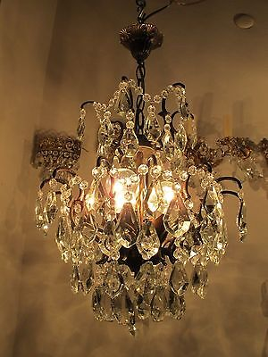 Antique Vnt French Spider Style Crystal Chandelier Lamp 1940s 15in Rare--