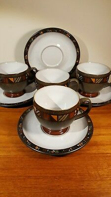 4 Denby Marrakesh cups and saucers... unused