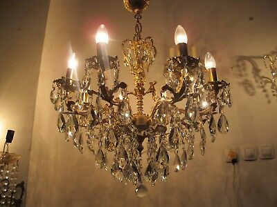 Antique Vintage 8 arms 3 Chrubs Crystal Chandelier Lamp 1960s 60cms Diamtr RR