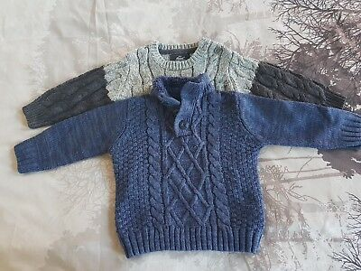 Boy's pack of 2 jumpers by Primark Size 12-18months Colour Grey/Navy Blue