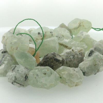 "15"" Natural Raw Rough Gemstone Prehnite Freeform Beads 20-25mm Mid Drilled"