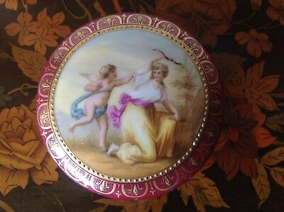 Antique Royal Vienna Signed Porcelain Box with Blue Beehive Mark