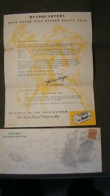 Vintage Lone Ranger Bond Bread Safety Club Letter 1939 w/ Envelope 1940 NO CARD
