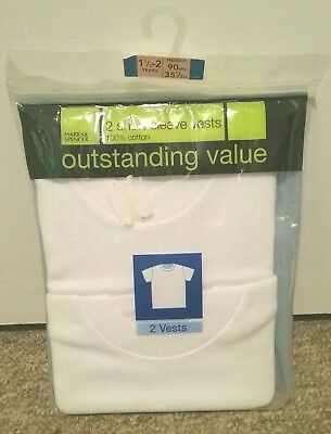 Bnwt M&s Boys Pack Of 2 White Short Sleeve Vests Age 18-24 Months  1 1/2 -2 Yrs