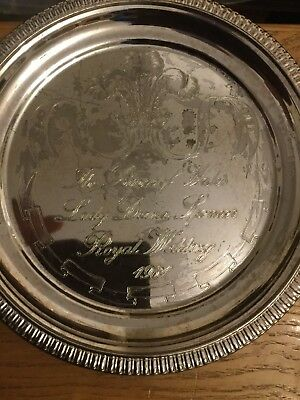 Vintage Silver Plated Tray By Cavalier Celebrating The Wedding Of Prince Charles