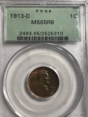 Scarce 1913 D Lincoln Cent certified PCGS MS 65 RED and BROWN