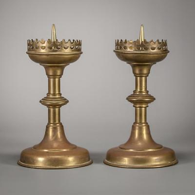 Charming Pair of Antique Gothic Candlestick Brass Candle Holders _